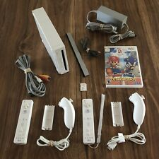Nintendo Wii System Console Bundle - 2 OEM Remotes w Mario & Sonic Olympic Games