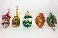 Vtg Lot 5 Beaded Sequin Handmade Easter Eggs Ornaments Pink Green Yellow Orange