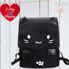Cute 3D Cat Backpack Fashion Women Girls Canvas Travel School Black Backpack