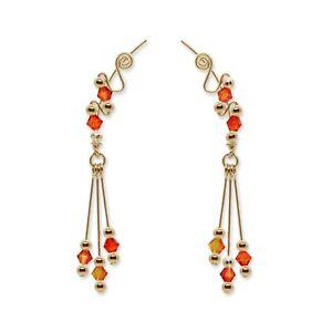 Ear Climbers Ear Crawlers Sweeps Earrings Gold Swarovski Fire Opal Crystal #254