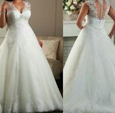 NEW  V Neck Plus Size White/Ivory Lace Wedding Dress Bridal Gown Size custom
