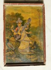 Antique Old Ravi Varma Signed Hindu Goddess Saraswati Silver Work Litho Print