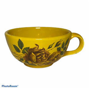 McCoy Pottery 137 Soup Bowl Coffee Mug Large With Handle Flower Vintage Mustard