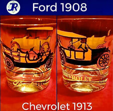 🚗Vintage Antique Car Lowball Drinking Glass 1908 Ford & 1913 Chevrolet Orange