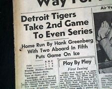 DETROIT TIGERS vs. Chicago Cubs World Series of Baseball (GAME 3) 1945 Newspaper