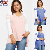 Plus Size Womens V Neck Long Sleeve Loose Tunic Top Blouse Shirt Pullover Jumper