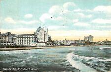 Atlantic City New Jersey~Hotels on Beach Front~Ocean Waves~1910 Postcard