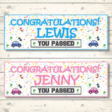 2 PERSONALISED CONGRATULATIONS YOU PASSED YOUR DRIVING TEST BANNERS