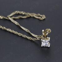 14k Yellow Gold Finish 1.10 CT Solitaire Princess Cut Diamond Pendant