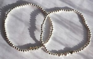 HANDMADE SILVER PLATED STACKING BEAD STRETCH BRACELET 3 HEARTS OR 3 STARS (023)