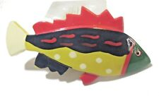COLORFUL PAINTED FISH HAIR BARRETTE CLIP VINTAGE MID CENTURY FIGURAL