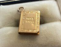 Lovely Hallmarked Vintage 9ct Gold Holy Bible Pendant Or Charm Nice