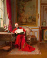 Large Oil painting mal portrait The Cardinal in red cloth seated by table canvas