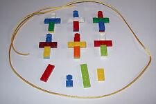 MAKE 6 LEGO CROSS NECKLACE RELIGIOUS PARTY FAVOR SUNDAY BIBLE CHURCH SCHOOL