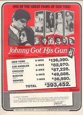 1971 RARE 'JOHNNY GOT HIS GUN' BOXOFFICE SUCCESS PROMO AD