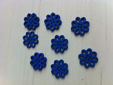 8 beads wooden buttons flower blue 0 19/32in
