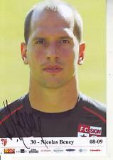 FOOTBALL carte joueur NICOLAS BENEY équipe FC SION signée