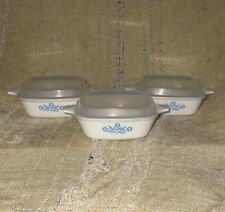 Corning Ware Blue Cornflower  Casserole Pan With Plastic Lids Lot Of 3 1 ¾ Cup