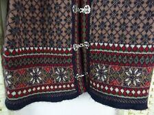 CHRISTIANA vintage cardigan Norwegian style chunky wool tapestry size M  PB185