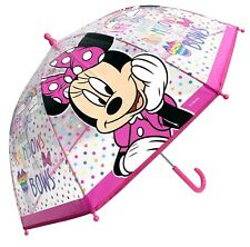 DISNEY MINNIE MOUSE Dome Clear POE Umbrella Kids Girls Genuine Official