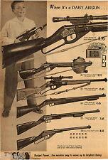 1958 ADVERT 2 PG Daisy Air Rifle BB Gun 75 Scout Eagle Scope Cork Ball Canteen