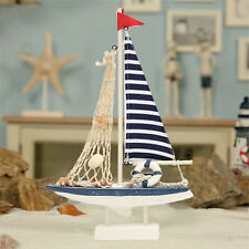 Nautical Color Wooden Blue Sailing Boat Ship Model Home Decor Ornament Gift