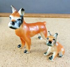 Vintage Boxer Dog & Puppy Dollhouse Pet Miniature Porcelain Figurine #7