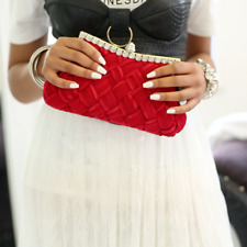Red and Silver Stone Ruching Clutch Bag