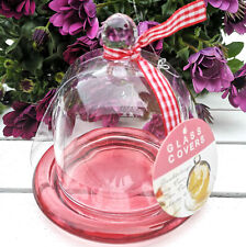Glashaube Haube Glasdom Glaskuppel Gloche rot klar Glocke Glassturz Glasglocke