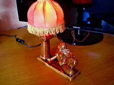 Ancienne Lampe avec abat-jour rouge  Pied faïence  Art Déco Femme Nue vintage !