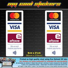 2 x Mastercard Visa Eftpos Mobile Payments Vinyl Sticker Decal, for Window Shop