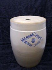 Antique Crock Butter Churn Pittsburg Pottery Blue Diamond Brand #3 gallon