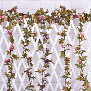 Cute 7Ft Artificial Fake Silk Rose Flower Hanging Garland Garden Wedding Decor