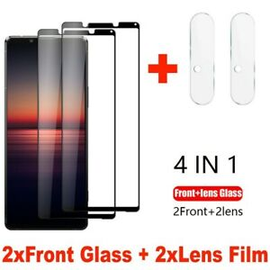 For Sony Xperia 1 5 10 II III Camera Lens Film + 9H Glass Full Screen Protector