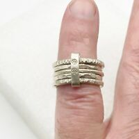 VINTAGE SOLID SILVER  MODERNIST 5 BAND LADIES  RING SIZE L