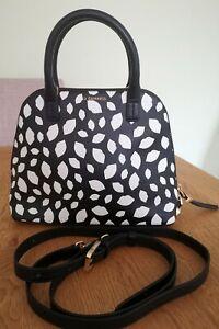 Lulu Guinness Bobbi Small Leather Grab Bag w/ Crossbody Strap, Black/White, NEW