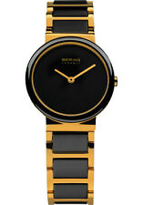 Bering Womens 10729-741 Ceramic Black Dial Gold Stainless Steel Band SS Watch