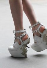 Alexander McQueen Runway Gorgeous White Platform Metal Back  Shoes 37