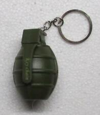 LED Flashlight Green GRENADE with Sound KEY CHAIN Ring Keychain NEW