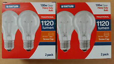100W WATT ES E27 a Vite in chiara incandescente GLS Lampadina Lampada x 4
