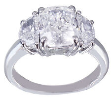 14K WHITE GOLD CUSHION CUT MOISSANITE AND DIAMOND ENGAGEMENT RING BRIDAL 2.80CT