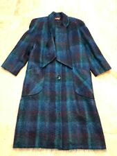 """Alorna Petite Blue Green Plaid 45"""" Long Coat USA Fully Lined Pockets 4 Buttons"""