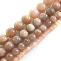"""AAA+ Natural Peach Moonstone Round Loose Beads 15"""" strands 4mm 6mm 8mm 10mm 12mm"""