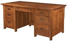 Amish Arts & Crafts Mission Executive Computer Desk Solid Wood File Drawers 72""