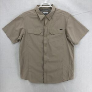 Columbia Omni Shade Mens Fishing Shirt Beige Mesh Lined Sun Protection Pocket XL