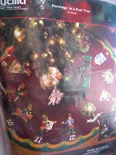 Christmas BUCILLA Felt Applique TREE SKIRT KIT,PARTRIDGE IN A PEAR TREE,86068