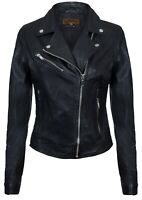 Ladies Leather Jacket Classic Biker Style Black Real Leather Womens Jacket
