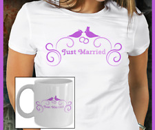 Just Married Two Love Birds Swag Coffee Mug Wedding Gift For Bride and Groom