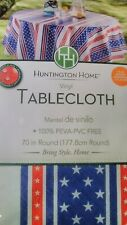 "70"" Round Vinyl Tablecloth Stars and Stripes Huntington Home"