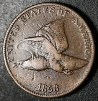 1858 FLYING EAGLE CENT - Large Letters LL - FINE